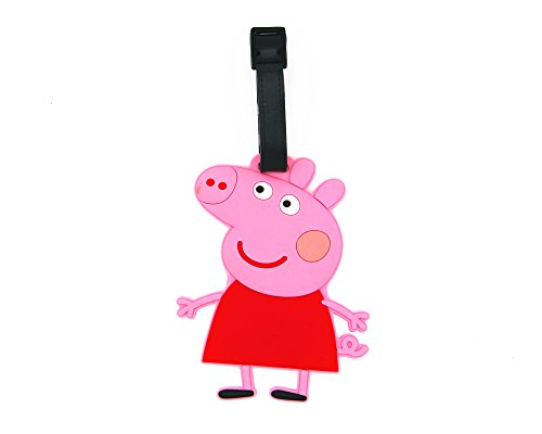 CellDesigns Cartoon Luggage Tag Suitcase ID Tag with Adjustable Strap (Peppa Pig)