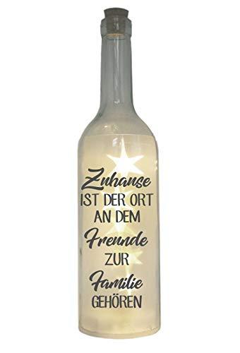 WB wohn trends LED-Flasche mit Motiv, Zuhause ist der Ort an dem Freunde zur Familie gehören, grau, 29cm, Flaschen-Licht Lampe mit Text Spruch