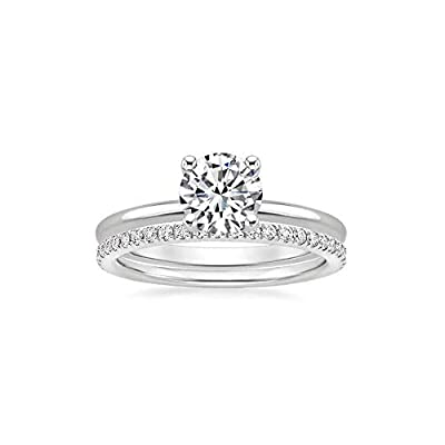YDD 1-1/6 Carat(ctw) 14K White Gold Moissanite Bridal Sets Ring for Women Engagement Wedding Ring Sets 10K 18K Solid Gold Moissanite Ring Jewelry, Personalized Custom Name Ring (925 Sterling Silver)