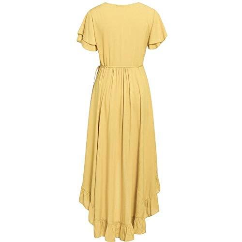Vestido de cóctel de señoras Cuello en v volante Boho coiffe sexy algodón manga corta playa playa maxi ajuste casual sólido amarillo primavera verano vestido de envoltura ( Color : Yellow , Size : S )