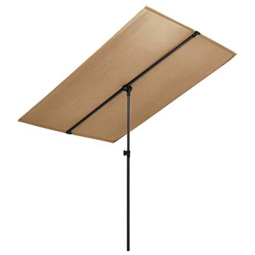 YueStar Sombrilla exterior con poste de aluminio 180x130 cm, color gris pardo