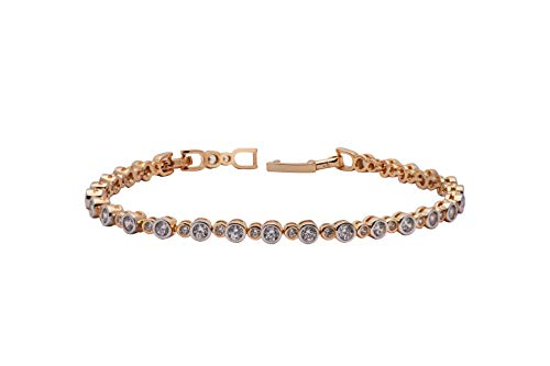 House of Meèsse Women's Classic Bracelet with alternating 18K White and Rose Gold Plated Gemstones, AAAAA Cubic Zirconia Stones, Comes with an Elegant Gift Box
