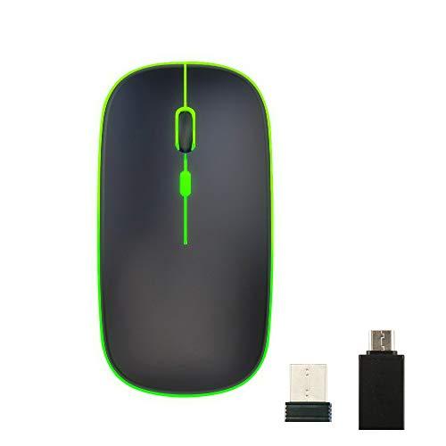 vitutech Kabellose Maus, LED Wiederaufladbare Leise Funkmaus, Laptop Wireless Mouse, 2.4 G USB Mäuse mit USB-Empfänger Typ C Kompatibilität für Computer/PC/MacBook/Notebook/Tablet (Schwarz)