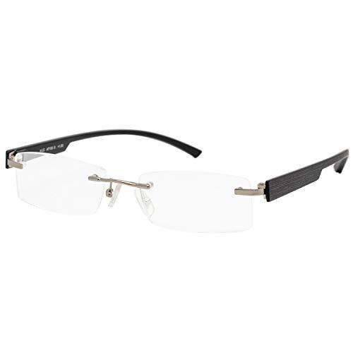 エール 老眼鏡 2.0 度数 メンズ フチなし バネ蝶番 ブラック AF105S