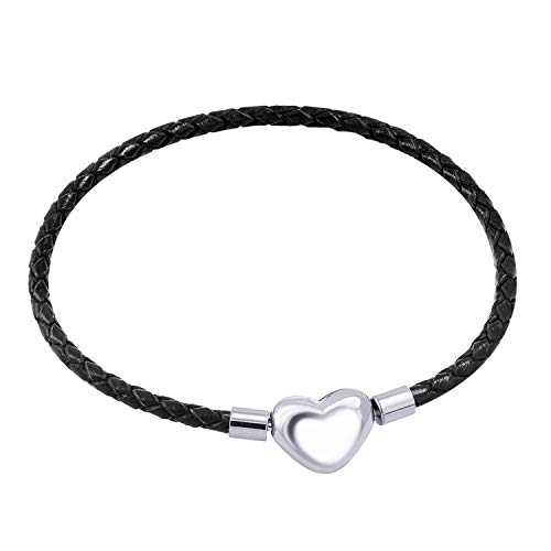 555Jewelry Stainless Steel Heart Charm Bracelet, Black Bracelet for Women, Braided Leather Charm Bracelet, Black Leather Bracelet for Women - Silver Heart, 7.5 Inch