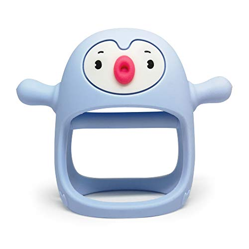 Smily Mia Penguin Buddy Never Drop Silicone Baby Teething Toy for 0-6month Infants, Baby Chew Toys for Sucking Needs, Hand Pacifier for Breast Feeding Babies, Car Seat Toy for New Born. Light Blue