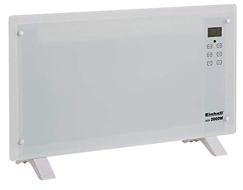 Einhell Convector de cristal calefacción GCH 2000 (2000 Watt, 2 niveles de temperatura, LCD-Display, pantalla táctil, temporizador, mando a distancia, diseño moderno, de pie - o en la pared dispositivo), GCH 2000 W