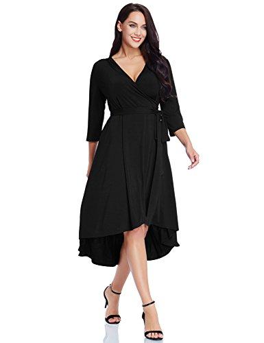 GRAPENT Women's Plus Size Solid V Neck Knee Length 3/4 Sleeve Hi Lo True Wrap Dress Surplice Flared Skirt Black Size 2X (Apparel)