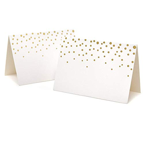 "50 Gold Foil Dots Place Cards for Weddings Party Event Dinner Buffet Table Setting Name Placecards 2.5"" x 3.75"" Gold Foil Dotted Tent Cards"