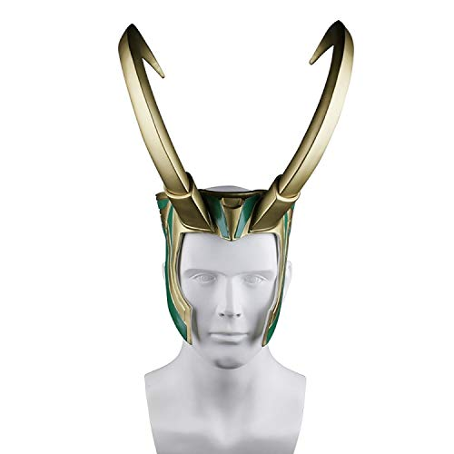QWEASZER Loki Helm Mit Hörnern Thor Ragnarok Loki Maske PVC Für Halloween Bar Performance Maskerade Show Für Erwachsene Frauen Männer Cosplay Kostüm Requisiten,Gold-OneSize