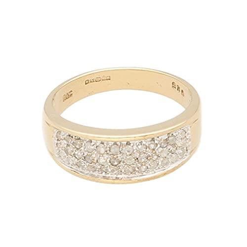 Anillo de oro amarillo de 9 quilates para mujer, de 0,25 quilates, talla M, 6,5 mm de ancho, anillo de lujo para mujer