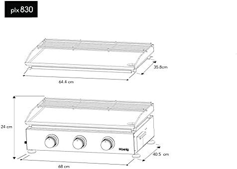 H.Koenig Plancha au gaz PLX830, 3 Brûleurs, Inox, plaque de 5mm, répartition égale de la chaleur, température jusqu'à 350°C, nettoyage facile, compatible lave-vaisselle, pieds anti-dérapants