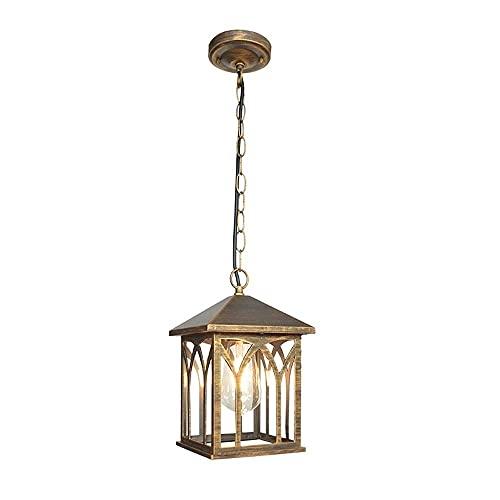 Pabellón Araña de iluminación E27 IP54 Europea Vintage Retro Lámpara colgante Personalidad Cuadrado Aluminio Metal Colgante al aire libre Montaje de luz Linterna de vidrio Impermeable Altura ajustable