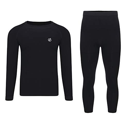 Dare 2b Herren In The Zone Ergonomic Body Map Fit Fast Wicking & Quick Drying Anti-Bacterial Performance Base Layer Set with Seam Smart Seamless Technology Baselayer, Schwarz, M