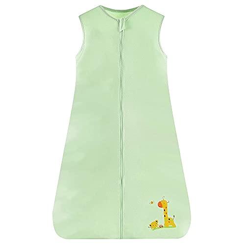 ACMEDE Sommar sovpåse Baby sovpåse 0.5 tog Små barnpyjamas utan ärmar för sommar och vår i mjuk bomull (grön, 6-24 månader)