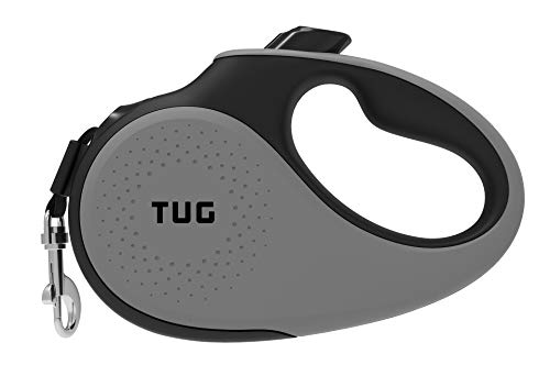 TUG 360° Tangle-Free, Heavy Duty Retractable Dog Leash for Up to 55 lb Dogs; 16 ft Strong Nylon Tape/Ribbon; One-Handed Brake, Pause, Lock (Medium, Grey)