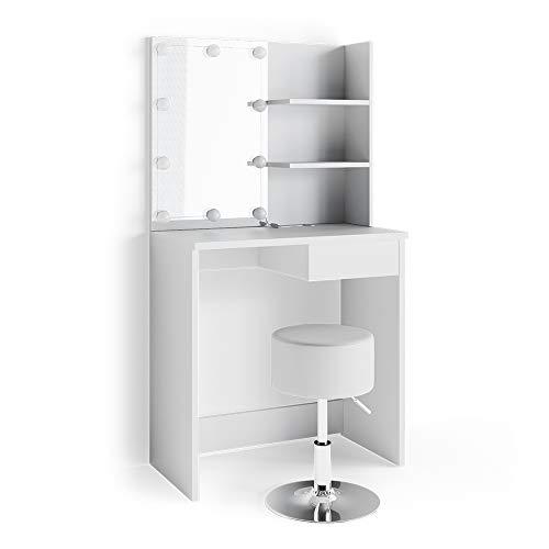 Vicco - Specchiera con tavolo da trucco, colore bianco lucido