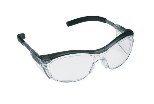3M Safety Glasses, Nuvo, 20 Pack, ANSI Z87, Anti-Fog Clear Lens, Retro Gray Frame, Soft Nose Bridge, Side Shields