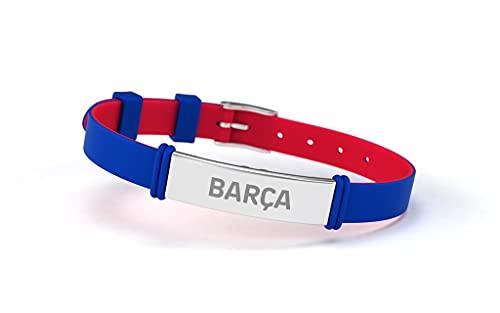 Pulsera Fútbol Club Barcelona Fashion Azul Barça Ajustable para Hombre, Mujer y Niño | Pulsera Barça de silicona y acero inoxidable | Apoya al FCBarcelona con un producto oficial culé |FCB
