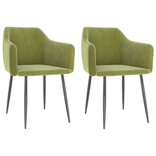 vidaXL 2X Sillas de Comedor Asiento Mobiliario Muebles de Salón Sala de Estar Cocina Escritorio Hogar Cómodo Suave Respaldo de Terciopelo Verde Claro