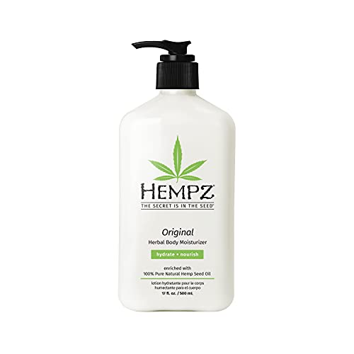 Hempz Original, Natural Hemp Seed Oil Body Moisturizer with Shea Butter and Ginseng, 17 Fl Oz, Pure Herbal Skin Lotion for Dryness - Nourishing Vegan Body Cream in Floral and Banana