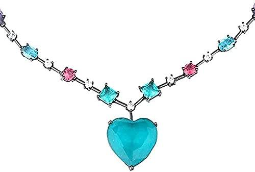 WYDSFWL Collar Mujer Hombre Moda Diario Colorido en Forma de corazón Mujeres Gargantilla Colgante Collar Casual Cristal Compras Vaso de colador Regalo Decorativo
