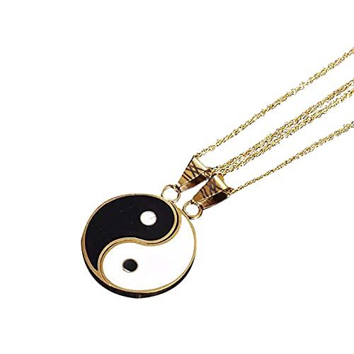 Revilium 2 Unids/Set Aleación De Oro Yin Yang Colgante Pieza De Rompecabezas Collar Joyería De Cumpleaños Pareja O Mejores Amigos Unisex