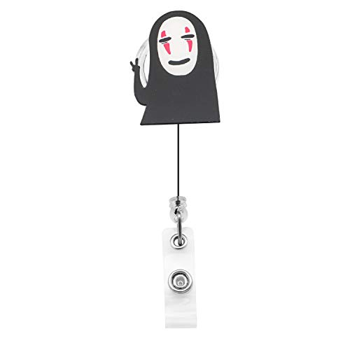Spirited Away Retractable Badge Holder Reel,Cute No Face Man Badge Tag Clip On Card Holders with Belt Clip,ID Badge Reels Clip Card Holder for Office Worker Doctor Nurse Student