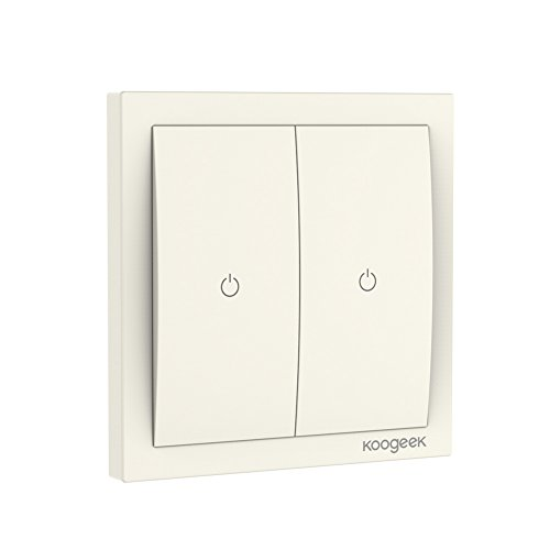 Koogeek Interruptor Wi-Fi de luz Inteligente 220~240V Compatible con Apple HomeKit Soporte Siri Control Remoto Two-Gang One-Way Single Pole Interruptor de Pared soporta 2.4GHz Consumo de energía