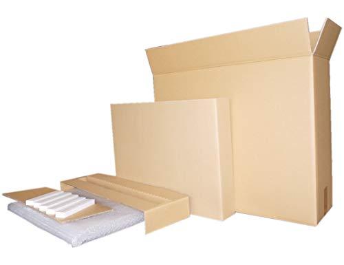 液晶一体型27インチPC梱包用ダブル硬材ダンボールと梱包用エアクッション、固定用パットセット (宅配160サイズ 外寸:720X240X590)