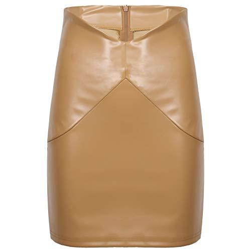 YiZYiF Faldas Ajustadas de Cintura Alta de Cuero PU de Moda para Mujer Minifalda con Cremallera Trasera de Color Sólido