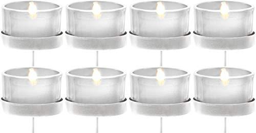 Novaliv 8X Kerzenhalter weiß/klar Teelichthalter Teelichtgläser Kerzenhalter zum Stecken Kerzenpicks für Adventskranz 5cm