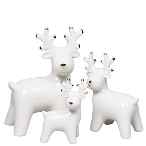 Valery Madelyn Renna Natalizia 3 Pezzi, Figurine di Alci in Ceramica Ornamenti per La Decorazione della Tavola 6 * 11 * 11cm/8 * 11 * 15cm/10 * 17,5 * 19cm