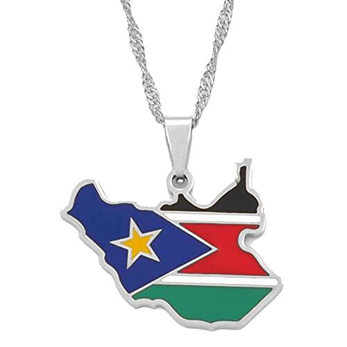 Collar Con Colgante De Bandera De Mapa De Sudán Del Sur De 45 Cm, Joyería De Plata / Oro, Mapa De Sudán Del Sur, Etnia