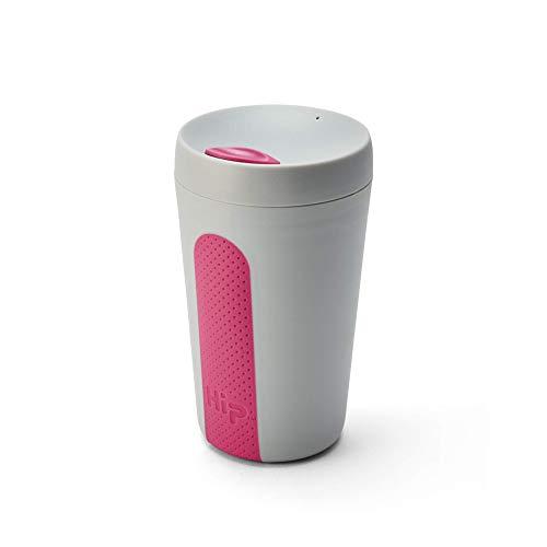 Hip 340 ml Wiederverwendbarer Kaffeebecher mit strukturiertem Griff, verschiedene Farben Stein und Hot Pink