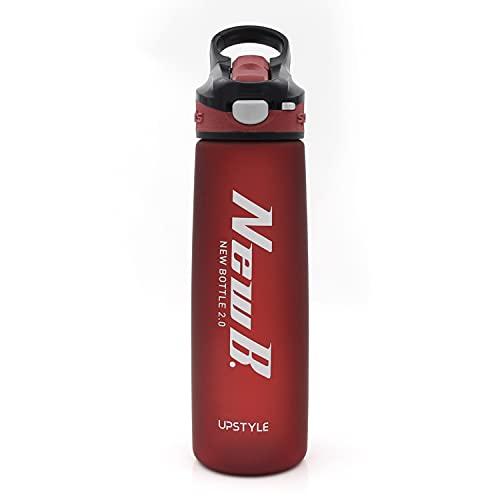 Borraccia sportiva in plastica con cannuccia e coperchio, a bocca larga, riutilizzabile, in Tritan senza BPA, per fitness, palestra e sport all'aria aperta, 708,7 g