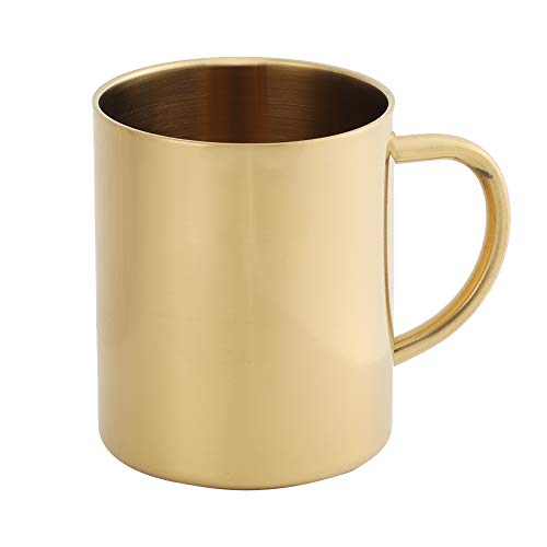 Kaffeetasse, 304 Edelstahl Dual Layer Anti Scalding 400 ml Kaffee Bierbecher Tasse(Goldfarben)