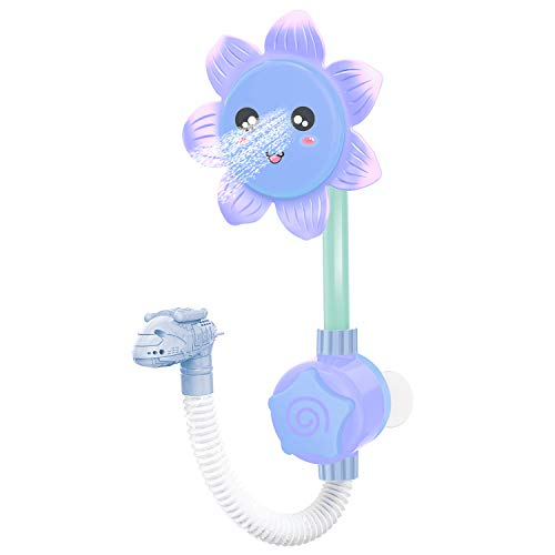 NATURALIFE Baby Bath Shower Toy for Toddlers, Battery Operated Sunflower Water Squirt Shower Faucet and Bathtub Water Pump for Infants