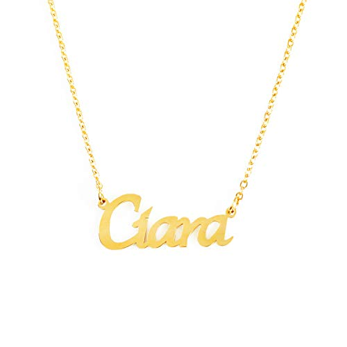 Kigu Ciara Name Necklace Personalised 18ct Gold Plated, Custom Dainty Name Pendants, Jewellery for Ladies, Girlfriend, Mother, Sister, Friends Inc Bag & Box