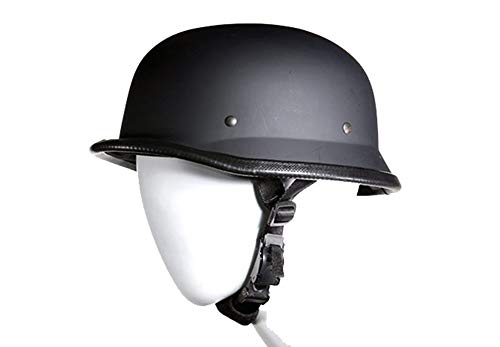 German Novelty Flat Black Motorcycle Skull Cap Cruiser Biker S,M,L,XL,XXL (S, Flat Black)
