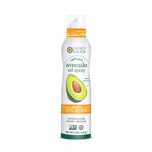 Chosen Foods 100% Pure Avocado Oil Spray 6 oz. (6 Pack), Non-GMO, 500°F Smoke Point, Propellant-Free, Air Pressure Only for High-Heat Cooking, Baking and Frying