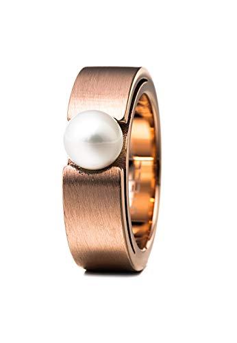 Heideman Ring Damen Perlenring Spannring aus Edelstahl Rosegold farbend matt Damenring für Frauen mit Swarovski Perle