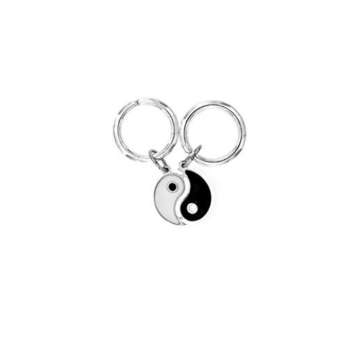 Padre Nostro Nostro - Coppia di Mini Portachiavi Yin Yang 16MM divisibile in Argento 925 smaltato Nero e Bianco