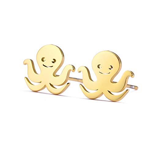 LIKGREAT Pendientes de pulpo para mujer minimalistas de acero inoxidable para acuario de mar (tono dorado)