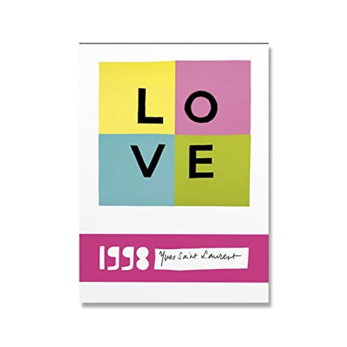 Pknbfw Yves Saint Laurent 1998 Love Poster Exhibition Wall Art Canvas Painting Simple Living Room Home Decor Picture-50x70cm No Frame