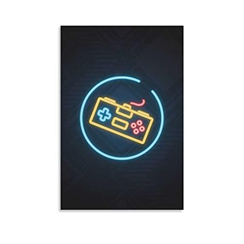 JUJUE Juego de carteles de neón para videojuegos, 1 póster retro, pintura decorativa, lienzo para pared, sala de estar, dormitorio, 30 x 45 cm