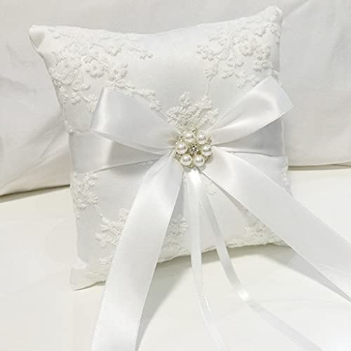 Almohada de anillo de boda de 18 x 18 cm de encaje blanco Alianza anillo de novia cojín cojín de boda (color: B)