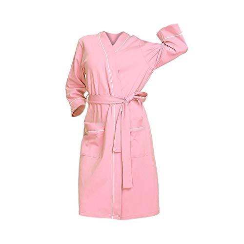 MNHJG Albornoz,Pijama de baño de algodón para Mujer, lencería de Colorcon cinturón, Conjunto de Ropa de Dormir con Bata, PK, L5