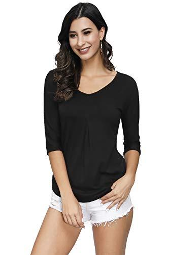 TrendiMax Damen T-Shirt V-Ausschnitt Sommer Oberteile Bluse Shirt Lässig Stretch Falten Tunika Casual Tops