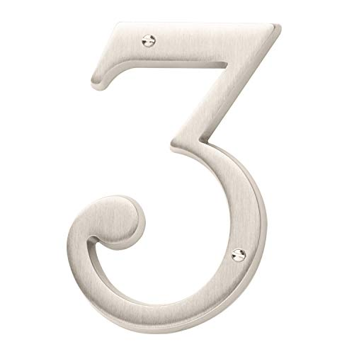 Baldwin Estate 90673.150.CD Solid Brass Traditional House Number Three in Satin Nickel, 4.75